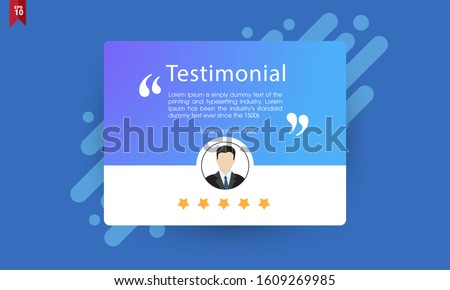 Vector of testimonial template and star rating for websites. Suitable for web and mobile app isolated on background, illustration template design and creative presentation.EPS10