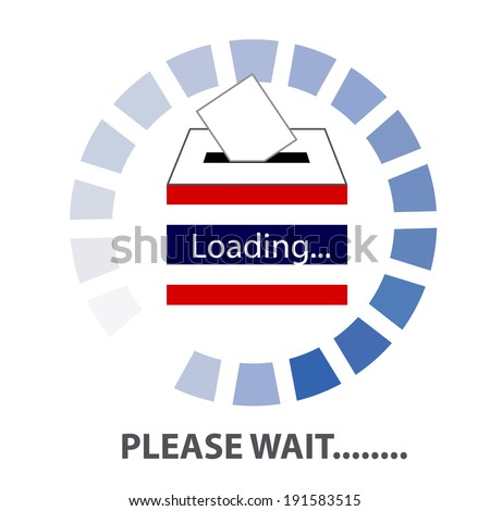 Vector of Thai Democracy  vote label (vote symbol, vote icon, ballot box, hand putting a voting ballot in a slot of box). PLEASE WAIT THAILAND Concept