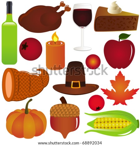 Vector of Thanksgiving, Fall Autumn season with turkey red wine pumpkin corn. A set of cute and colorful icon collection isolated on white background