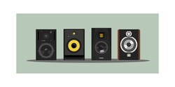 Vector of the legendary studio monitors. Image for t-shirt. Acoustic systems. Detailed study. For a music studio. Sound pressure. Speakers. For professional riders. Musical equipment. Vector for case.