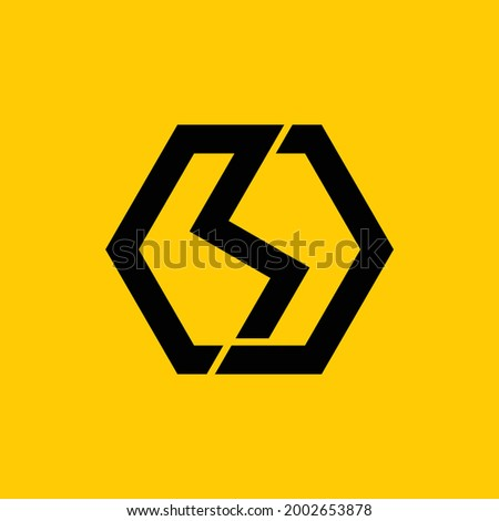 vector of the letters R and J with a beautiful and strong hexagon with a stormy feel Stock fotó ©