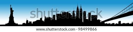 Vector of the New York skyline on blue sky