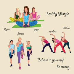 Vector of the sport's sketch. People are training aerobic, fitness and yoga. Colored