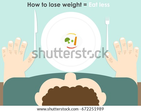 Vector of top view of fat man sitting at table trying to eat tiny vegetables on the white plate to loose weight with wrong idea that