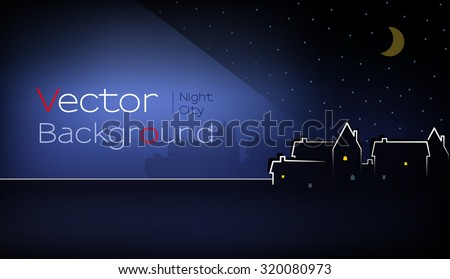 vector of town at night with