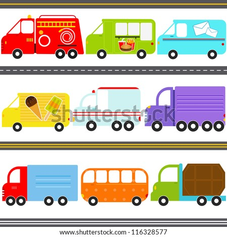 Vector of Transportation theme - fire truck, food truck, mail truck, icecream truck, ambulance, a van. A set of cute and colorful icon collection isolated on white background