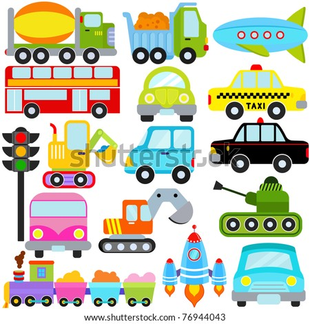 Vector of Transportation theme with  Car, Vehicle, truck, taxi, tourist bus, train. A set of cute and colorful icon collection isolated on white background