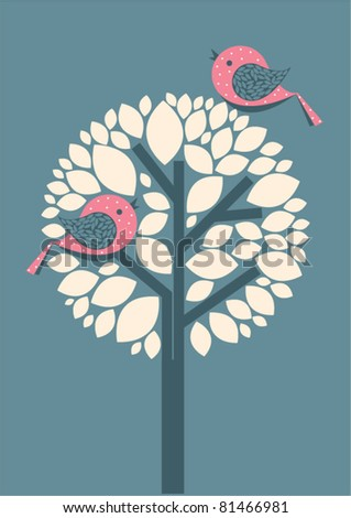 vector of tree with birds