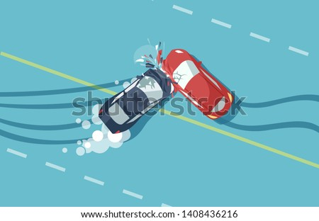 vector of two car accident top