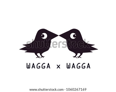 vector of two cute crows on