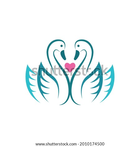 vector of two swan and pink