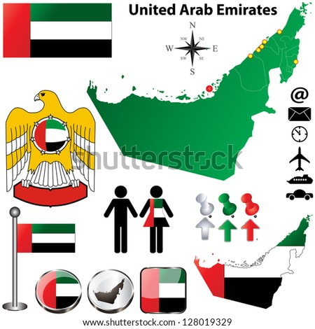 Vector of United Arab Emirates set with detailed country shape with region borders, flags and icons