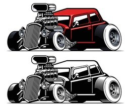 vector of vintage american hot rod car with big engine