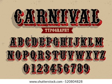 Vector of vintage carnival font and alphabet Stock photo ©