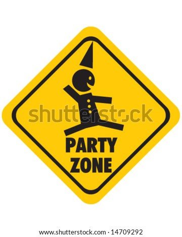 vector of warning sign for party zone