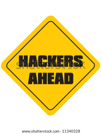 vector of warning sign of hackers ahead