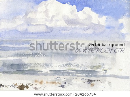 vector of watercolor of a cloud