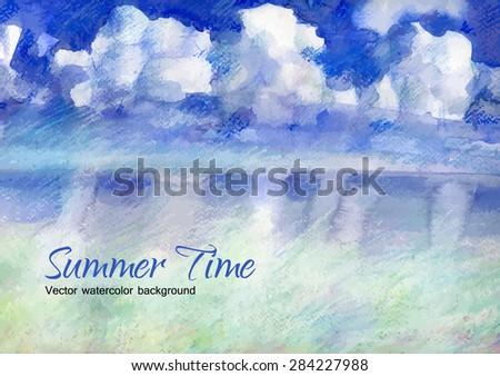 vector of watercolor of serene