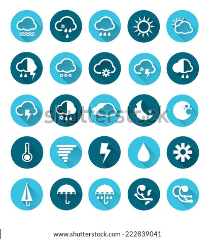 Vector of Weather icons set , Vector circle buttons in flat design