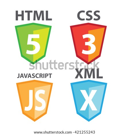 vector of web development shield signs : html5 icon, css3, javascript and xml