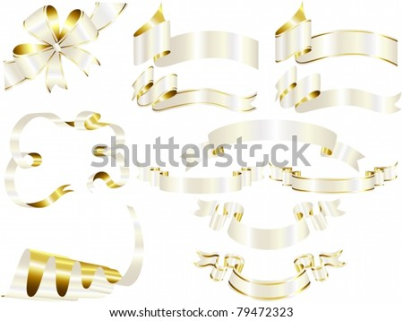 Vector of white and gold ribbon set