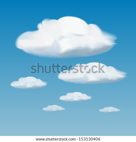 vector of white clouds on blue