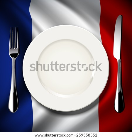 Vector of White plate with knife and fork on France flag background. The national food concept.