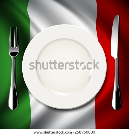Vector of White plate with knife and fork on Italy flag background. The national food concept.