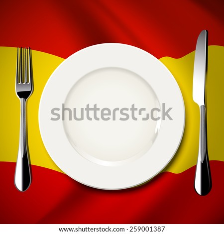 Vector of White plate with knife and fork on Spain flag background. The national food concept.