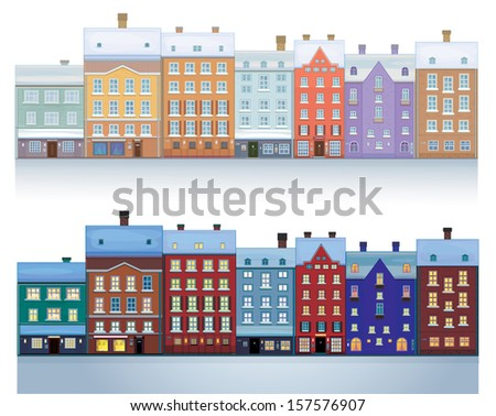 vector of  winter city isolated