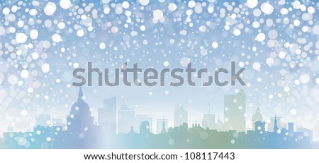vector of winter cityscape
