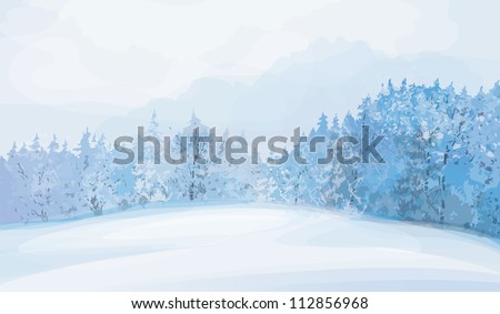 Vector of winter landscape. - stock vector