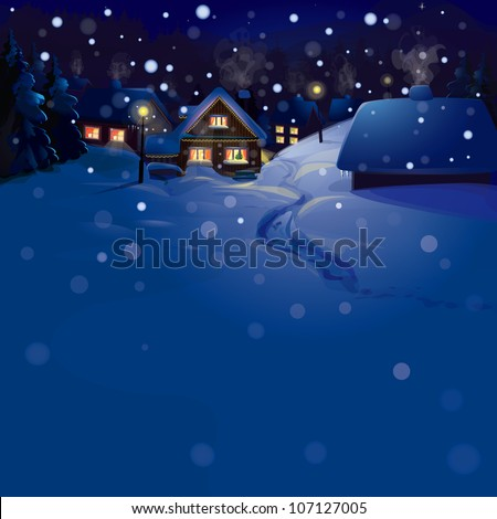 Vector of winter landscape. Merry Christmas!, snowfall is in separated layer