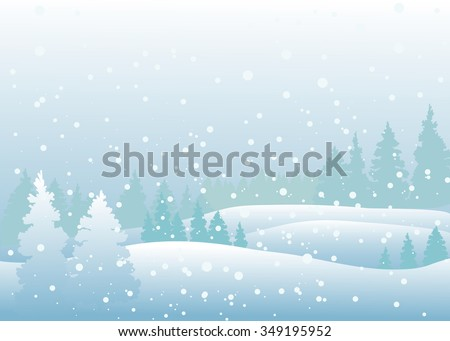 Vector of winter landscape, snowfall in forest.