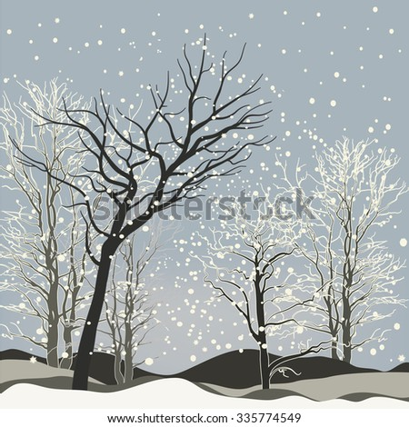Vector Of Winter Scene With Forest Background Fantasy Landscape Snowflakes