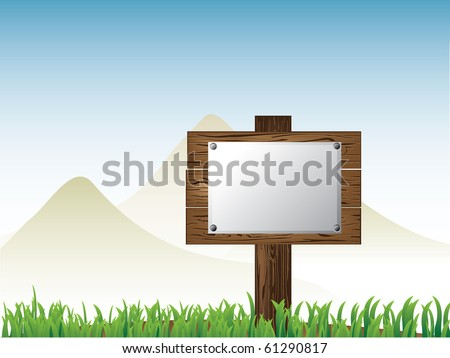 Vector of wooden road sign