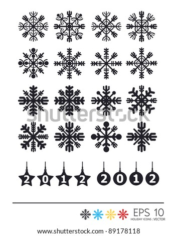 Vector  of 2012 year and snowflakes icons.