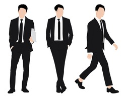 Vector of young businessman and in formal suit, Business people, group of men wearing working outfit standing in white background