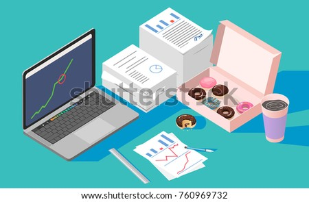 vector,Office break and resting after solving task with Doughnut box and coffee cup,