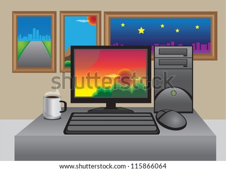 Vector office computer, coffee and photograph with frames
