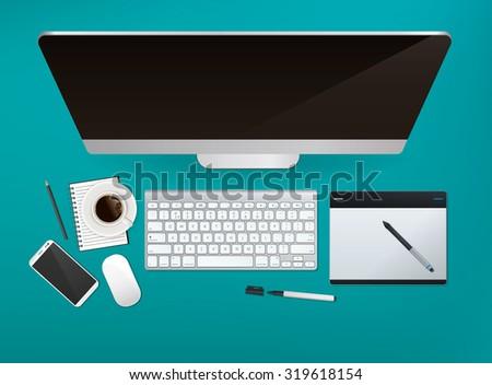 vector office desk top view