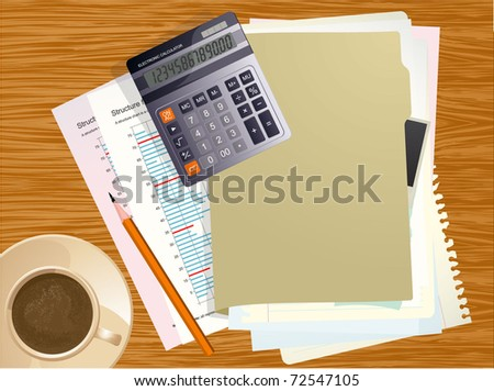 Vector office desktop. Business calculator, cup of coffee, blank paper, reports and crumpled papers on wooden office desktop.