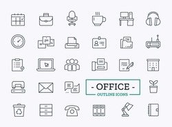 Vector office icons. Thin line signs of team, printer, fax, mail, clock, paper stickers, computer, chat, headphones