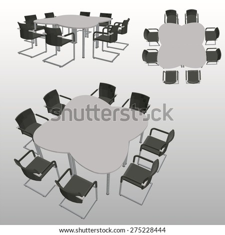 Vector office table with chairs
