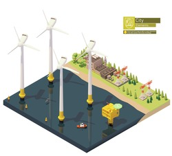 Vector offshore wind turbines power plant infrastructure. Includes offshore wind farm, transformer station, power lines and power station