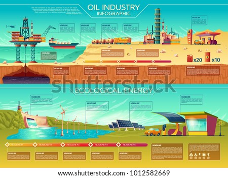 Vector oil industry ecological energy infographics presentation template set. Renewable solar panel water dam windmill turbines, electric car charging station traditional oil extraction transportation