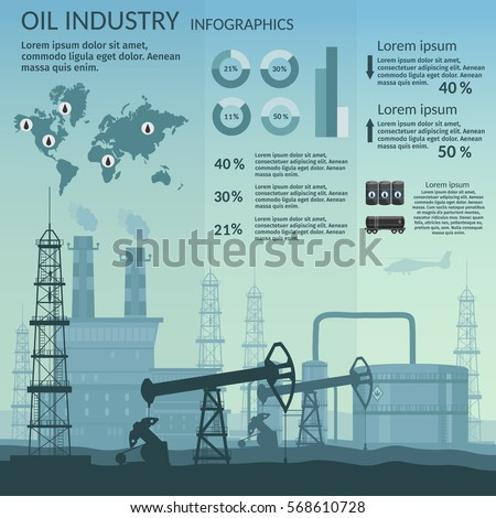 Vector Oil rig industry of processing petrol and transportation infographics set production elements.