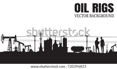 Vector Oil rig industry silhouettes background, Book Cover Design.