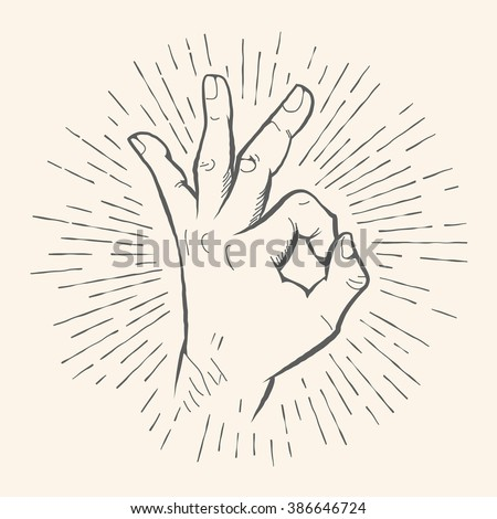Vector OK hand gesture. All right hand drawn sign. Vector pencil sketch illustration. Isolated on white background.