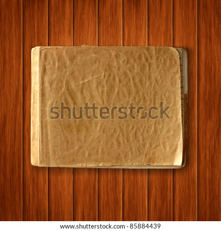 Vector old blank notebook on wood texture background. scrapbook vintage template